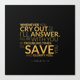 Psalm 91:15 Bible Verse - Black Gold Canvas Print