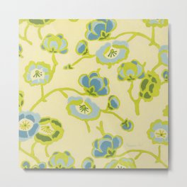 Japanese Flowers On Yellow Background Metal Print
