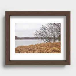 Peaceful lake view in November Recessed Framed Print