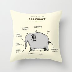 Anatomy of an Elephant Throw Pillow