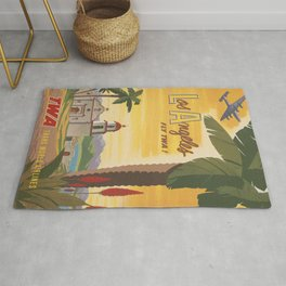 Los Angeles Vintage Poster - Fly TWA Rug
