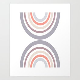 Modern Double Rainbow Hourglass in Muted Earth Tones Art Print