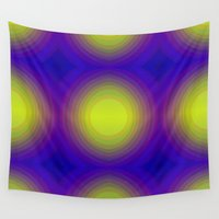 70s Wall Tapestries featuring Flashy 70s,blue by MehrFarbeimLeben