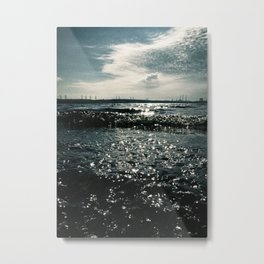 Grunge waterscape and small dark waves Metal Print