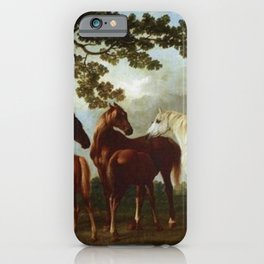 Classical Masterpiece Circa 1762 Mares and Foals in a River Landscape by George Stubbs iPhone Case