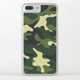Army Green Camouflage Camo Pattern Clear iPhone Case