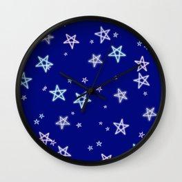 Neon Stars Design Wall Clock