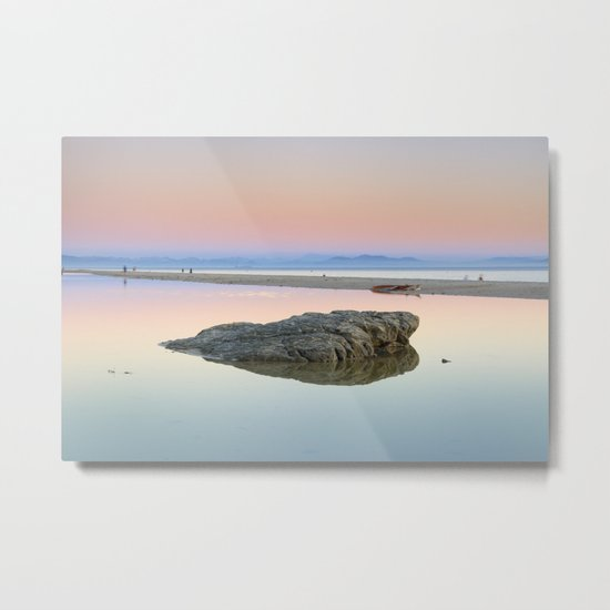 """Walking...."" Pink sunset at the beach. Metal Print"