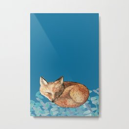 Fox and Teal Leaves Metal Print