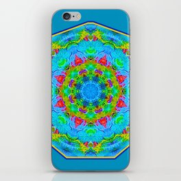 Red Flower Blue Mandala iPhone Skin