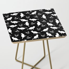 Skulls, Cats, Black and White, Pattern Side Table
