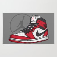 chicago bulls Area & Throw Rugs featuring Jordan 1 OG (Chicago) by Pancho the Macho