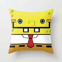 spongebob Throw Pillows featuring SpongeBob by nu boniglio