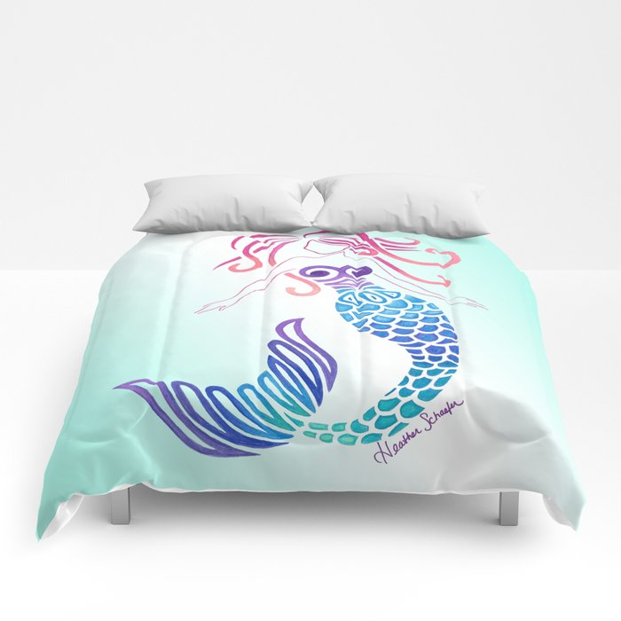 Tribal Mermaid With Ombre Turquoise Background Comforters