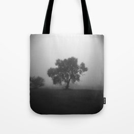Tree in Field of Fog Tote Bag