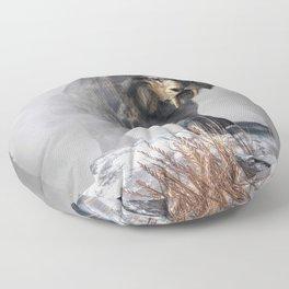 Smilodon Fatalis in Winter Floor Pillow