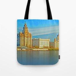 Water front Liverpool (Digital Art) Tote Bag