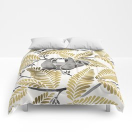 Happy Sloth – Tropical Gold Leaves Comforters