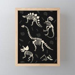 Dinosaur Fossils on Black Framed Mini Art Print