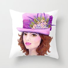 Doe-Eyed Girl by Jane Purcell Throw Pillow