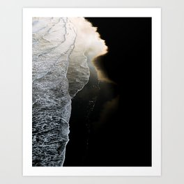 Waves on a moody black sand beach in iceland - minimalist Landscape Photography  Art Print