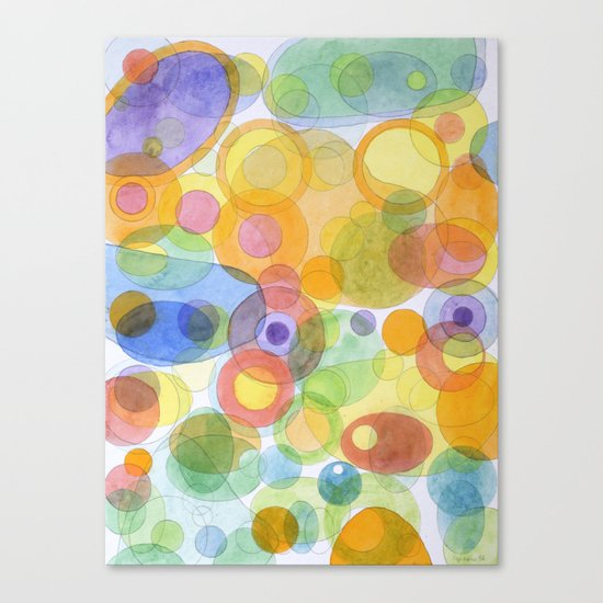 Vividly interacting Circles Ovals and Free Shapes Canvas Print