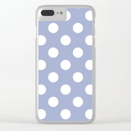Wild blue yonder - blue - White Polka Dots - Pois Pattern Clear iPhone Case