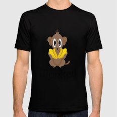 Monkey! Little Monkey with Bananas Black Mens Fitted Tee MEDIUM