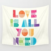 all you need is love Wall Tapestries featuring Love Is All You Need by Crafty Lemon