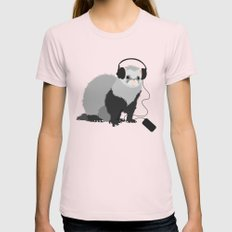 Music Loving Ferret Light Pink Womens Fitted Tee SMALL