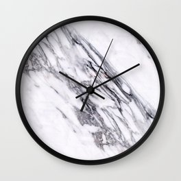 Alabaster White Marble With Charcoal Veins Texture Wall Clock