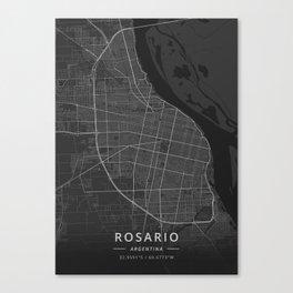 Rosario, Argentina - Dark Map Canvas Print