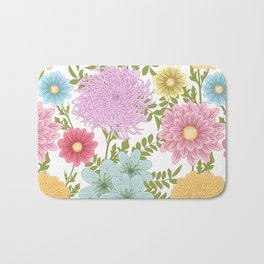 Painted Floral Pattern With Dahlias And Chrysanthemums Bath Mat