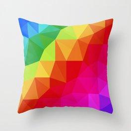 Rainbow Low Poly Throw Pillow