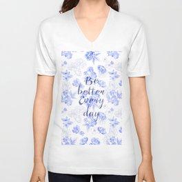 Blue Flowers Pattern Unisex V-Neck