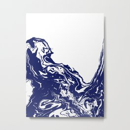 Indigo Wave water ocean abstract painting blue and white nautical trendy gender neutral dorm  Metal Print
