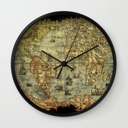 Vintage Old World Map Wall Clock
