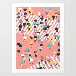 Crossing The Street On a Rainy Day Art Print