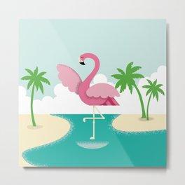 Flamingo in the Ocean Metal Print