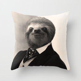 Gentleman Sloth with Authoritative Look Throw Pillow