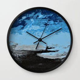 Blue sky above the black land Wall Clock