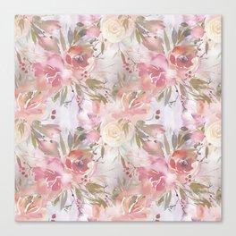 Modern blush pink ivory botanical watercolor floral Canvas Print