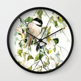 chickadee and dogwood Wall Clock