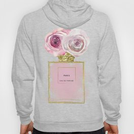 Pink & Gold Floral Fashion Perfume Bottle Hoody
