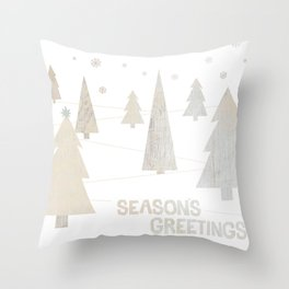 Seasons Greetings, Collage in White Washed Wood Throw Pillow
