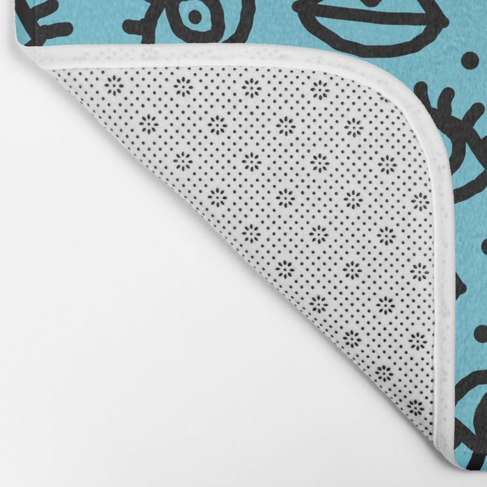 Wowzers - memphis throwback retro neon face eyes fashion print design dorm college trendy gifts Bath Mat