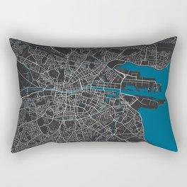 Dublin city map black colour Rectangular Pillow
