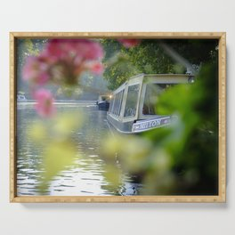 The Flowering look at a boat on the Little Venice canals in London | Color Photography | Travel Photography | Photo Print | Art Print Serving Tray