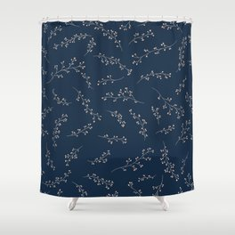 Berry Branches Pattern in Blue and Pink Shower Curtain