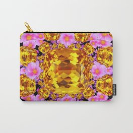 Golden Topaz Gems &  pink roses Art Carry-All Pouch